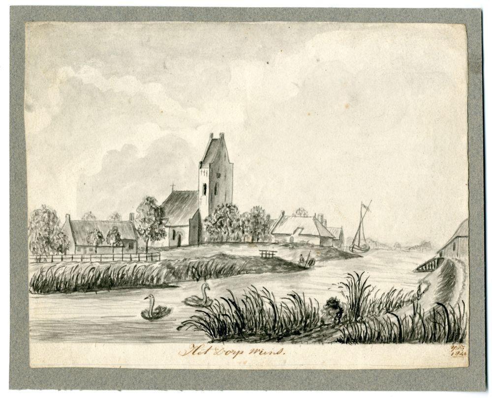 Tekening van het dorp Wyns door Ynsen Faber