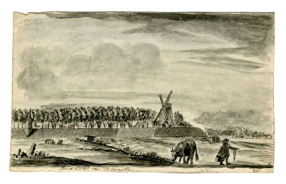 Tekening van de Zuidkant van Franeker door Ynsen Faber