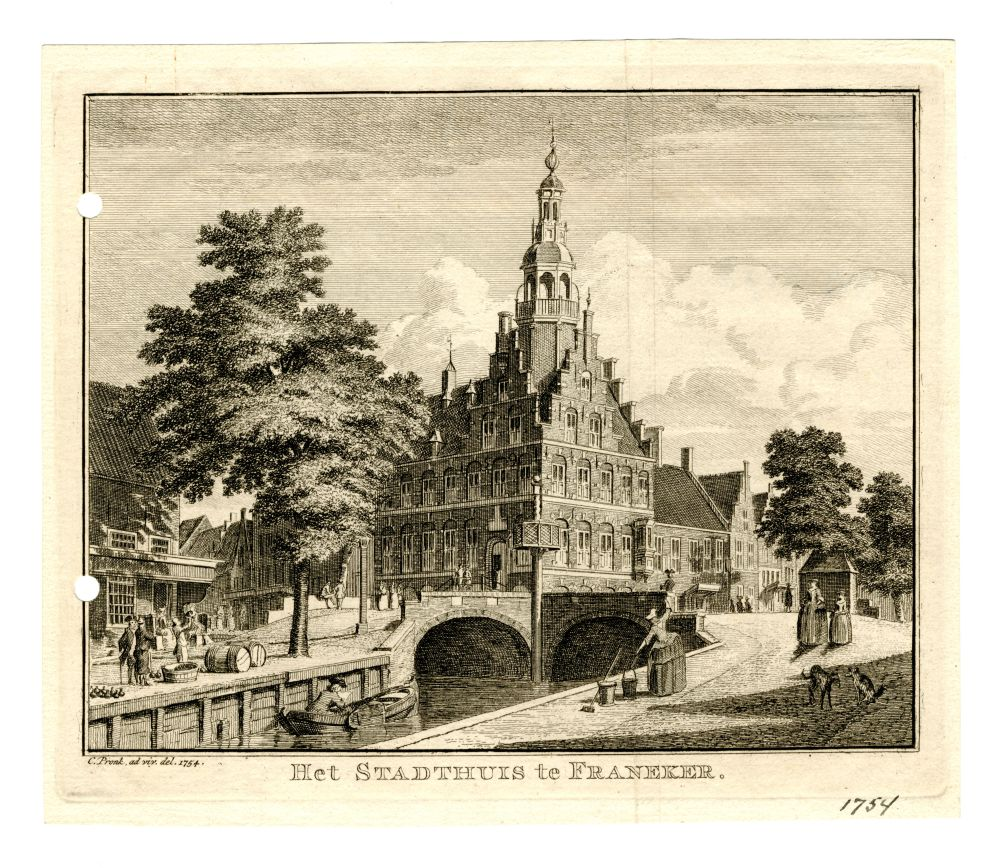 Gravure van het stadhuis van Franeker door C. Pronk