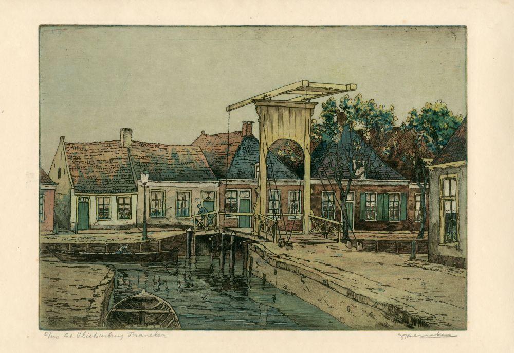 Ets in kleur van de Vlietsterburg te Franeker door Johan Hemkes