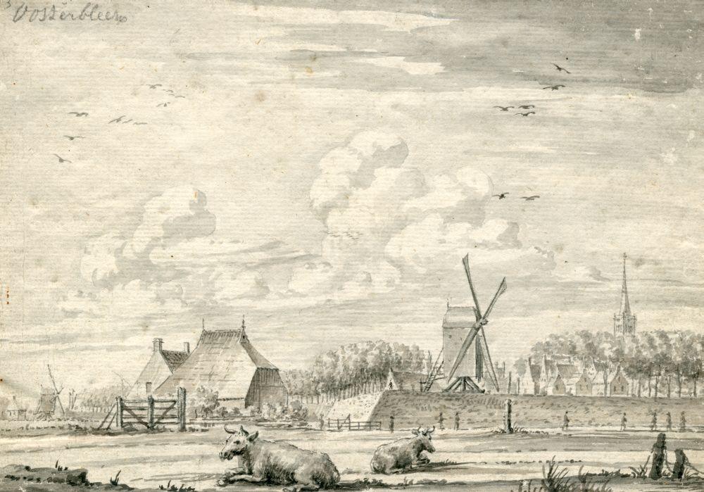Tekening met penseel en inkt van een stadsgezicht van Franeker vanaf de Bleek door Pieter Idserts Portier