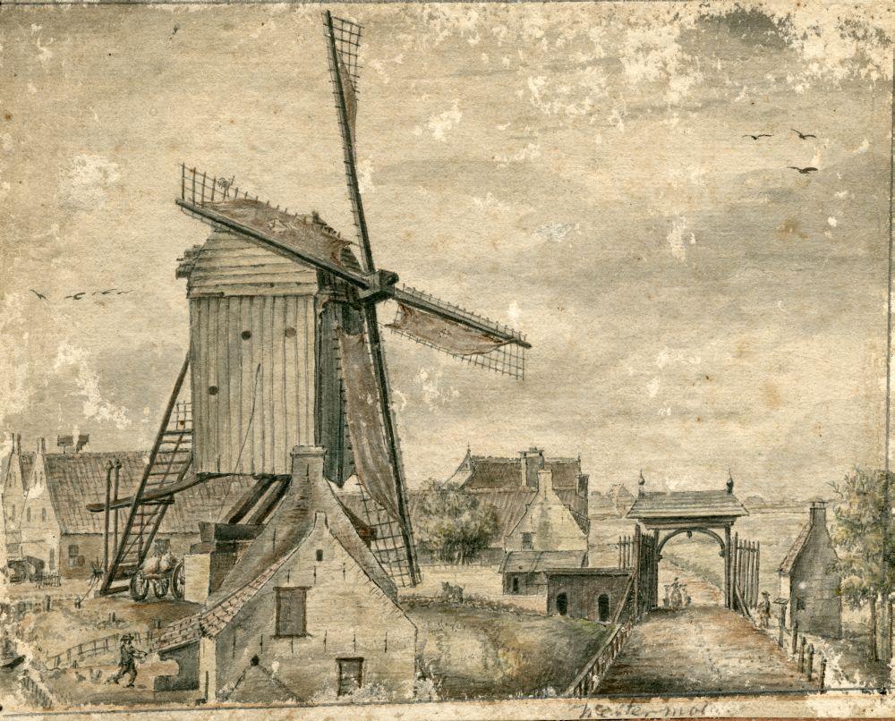 Tekening met penseel en inkt van de Westermolen in Franeker door Pieter Idserts Portier