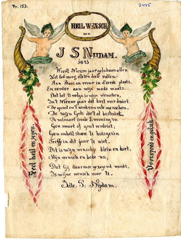 Heilwens aan J.S. Nijdam door J.P. Nijdam