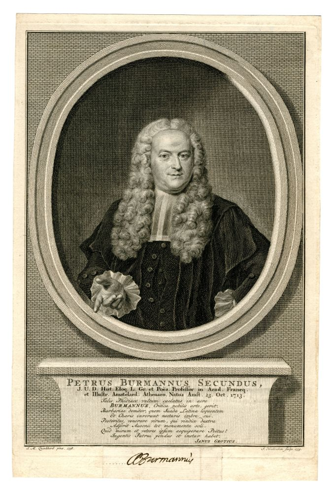 Portret van Petrus Burmannus Secundus door J. Houbraken
