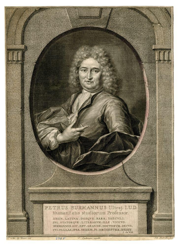 Portret van Petrus Burmannus door J. Houbraken