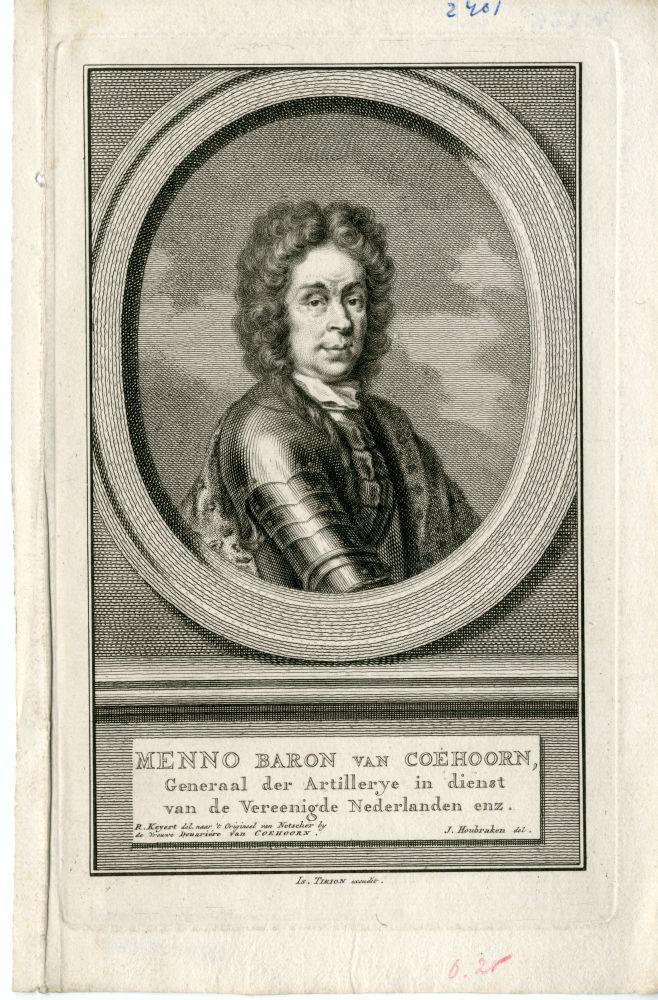 Portret van Menno Baron van Coehoorn door J. Houbraken