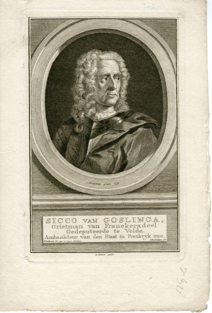 Portret van Sicco van Goslinga door J. Houbraken