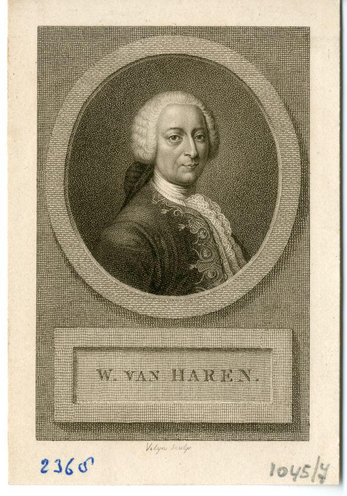 Portret van Willem van Haren door P. Velijn
