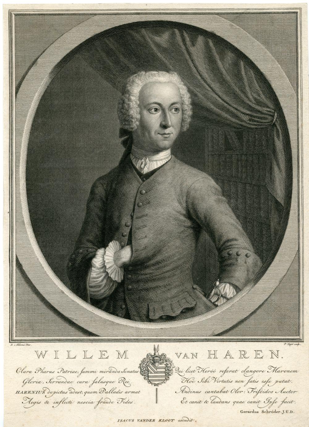 Portret van Willem van Haren door P. Tanje