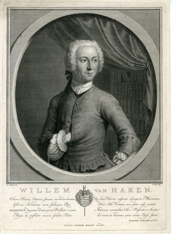 Portret van Willem van Haren door J. Houbraken