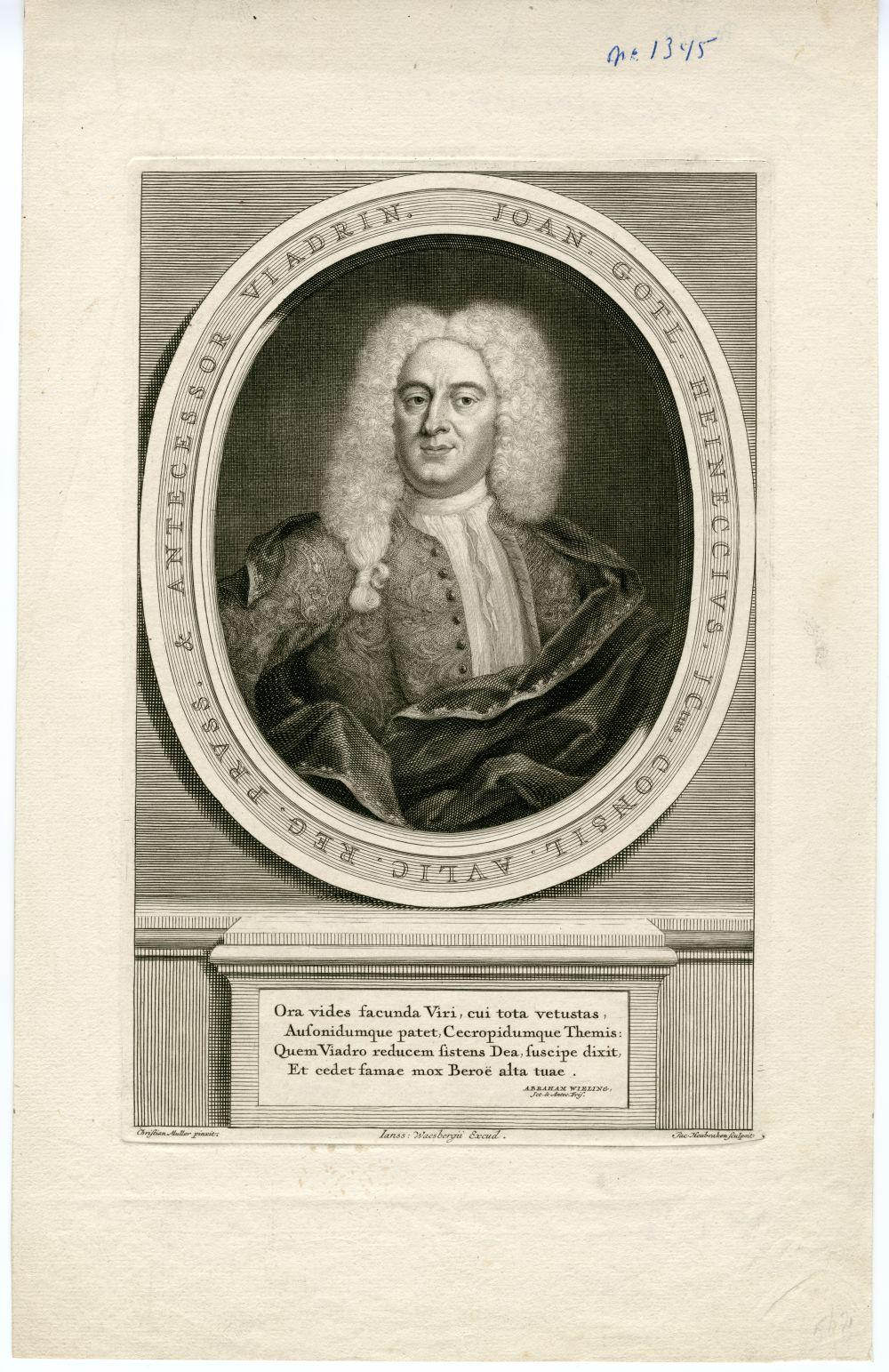 Portret van Joan Gotlieb Heineccius door J. Houbraken