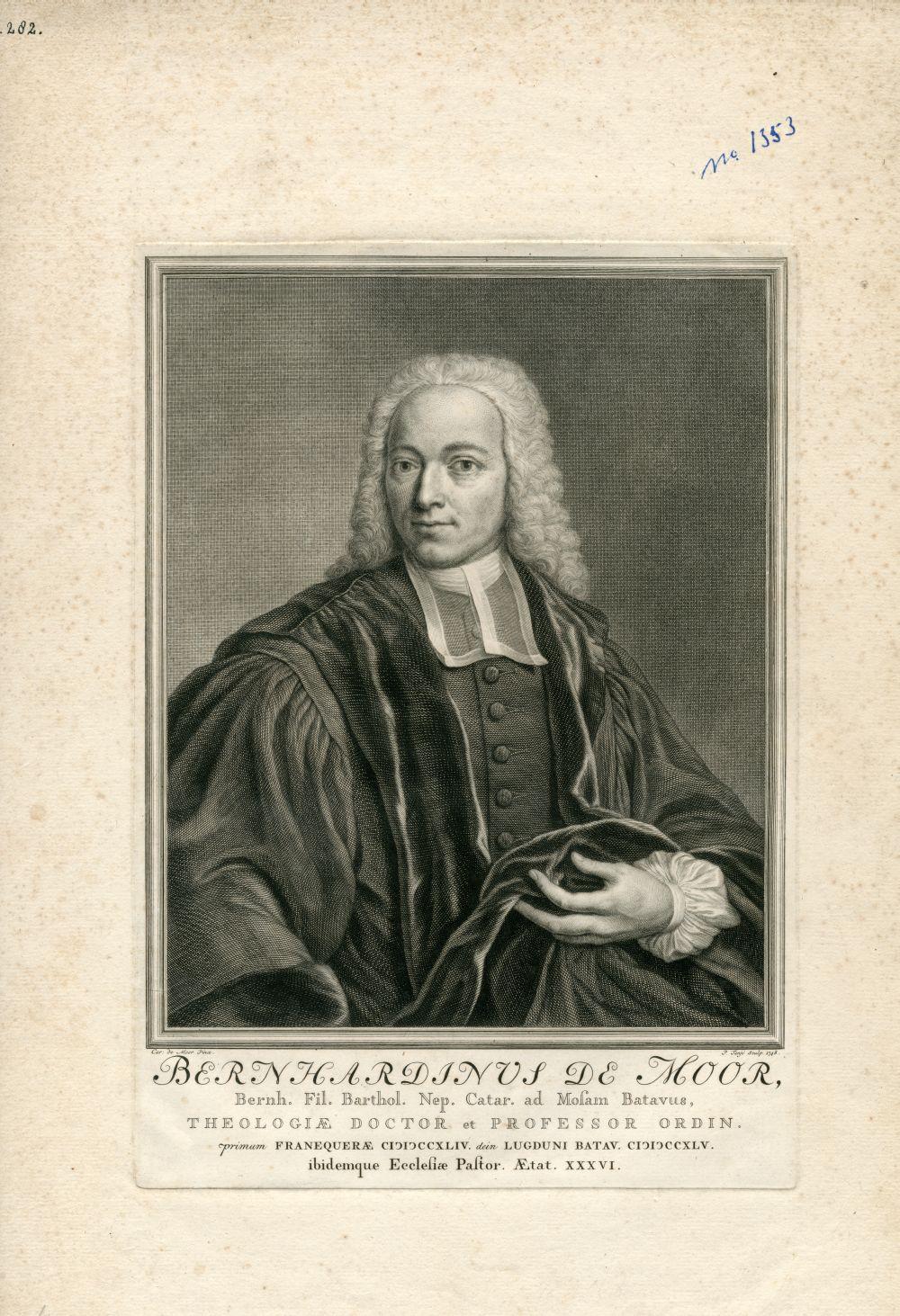 Portret van Bernhardinus de Moor door P. Tanje