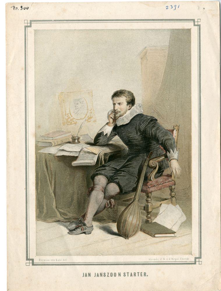 Gekleurd portret van Jan Janszoon Starter door P,W, van der Weijer