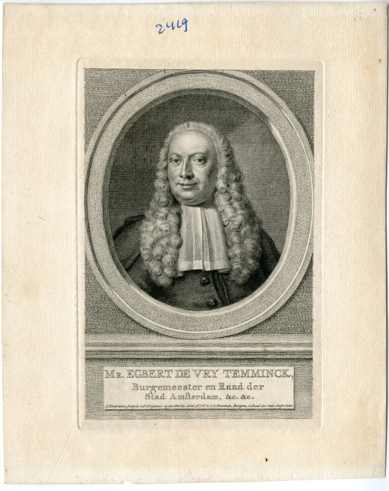 Portret van Mr. Egbert de Vrij Temminck door J. Houbraken