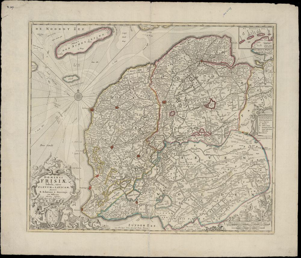 Landkaart met kleur van Friesland door Bernardus Shotanus à Sterringa.
