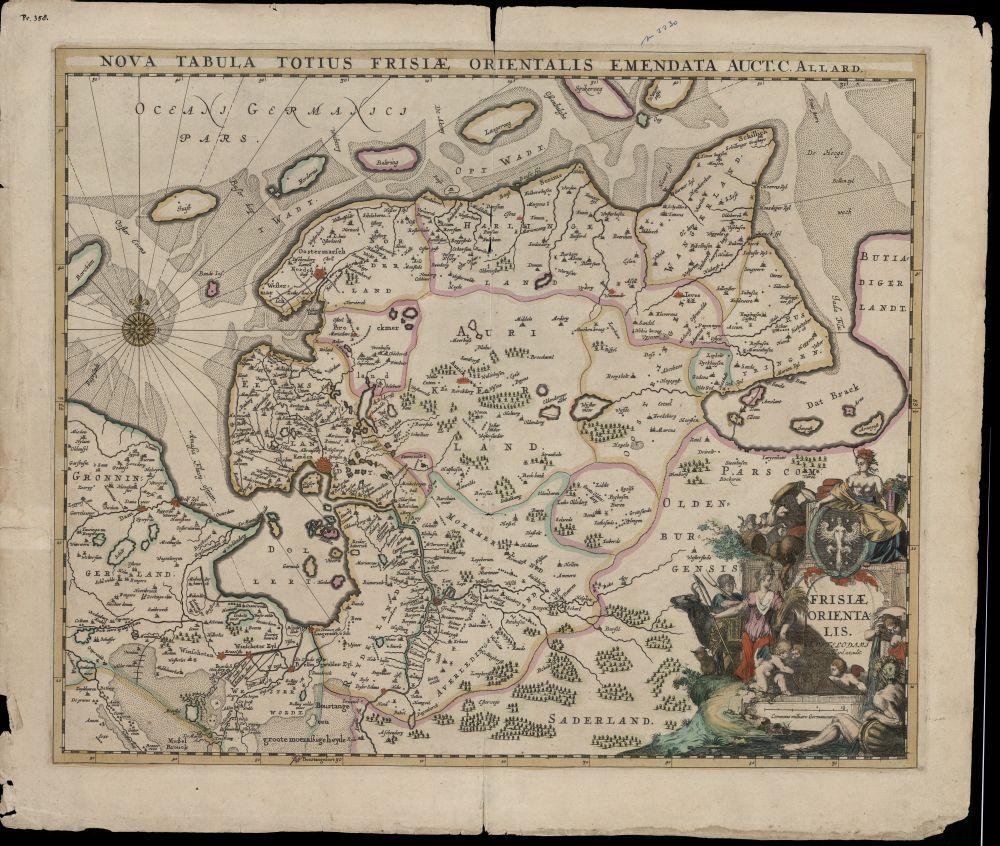 Landkaart met kleur van Oost-Friesland door Carel Allard