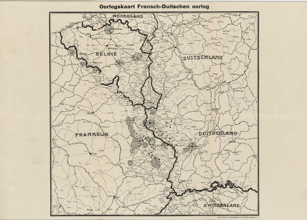 Landkaart van de Frans-Duitse oorlog 1914-1918.