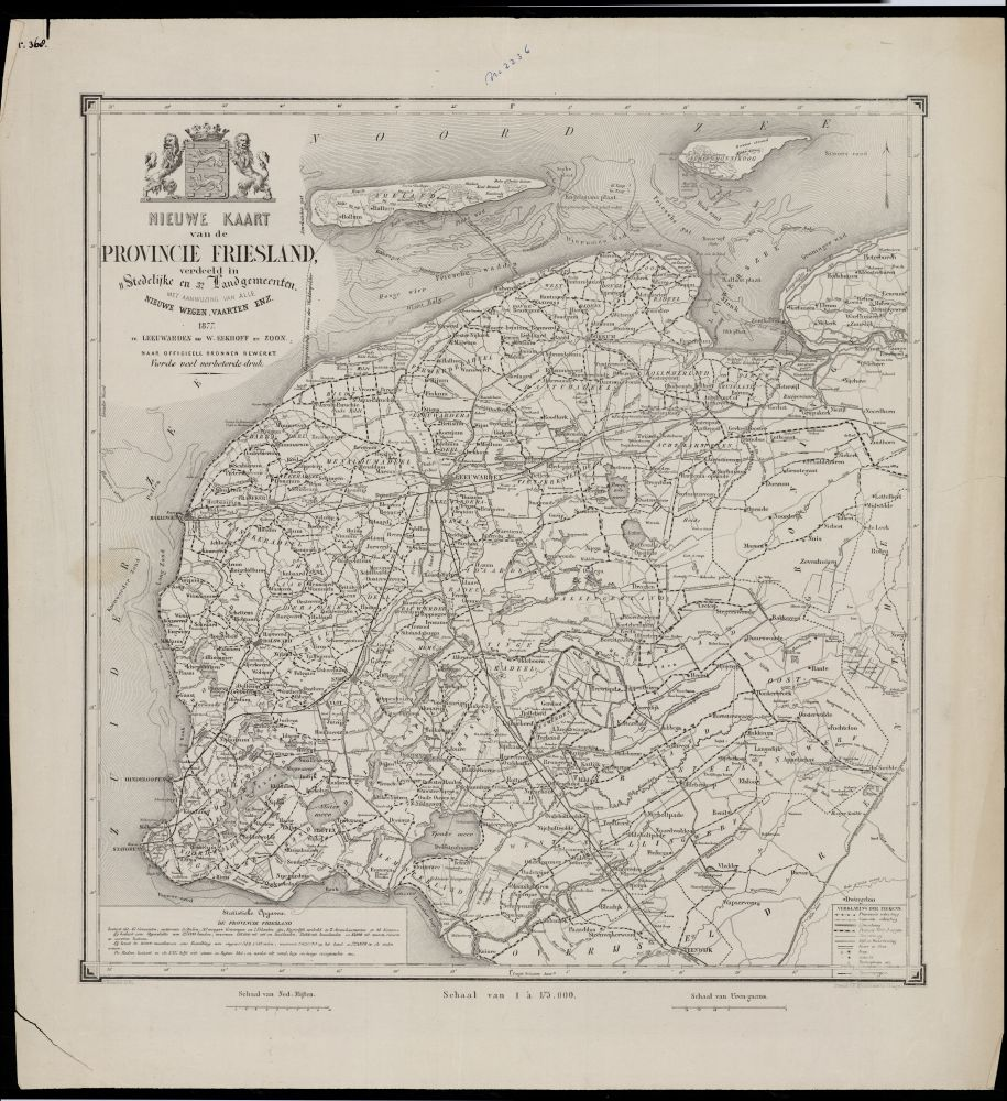 Landkaart van Friesland in 1877 door Wopke Eekhof, Contantius Baesjou en P. Blommers