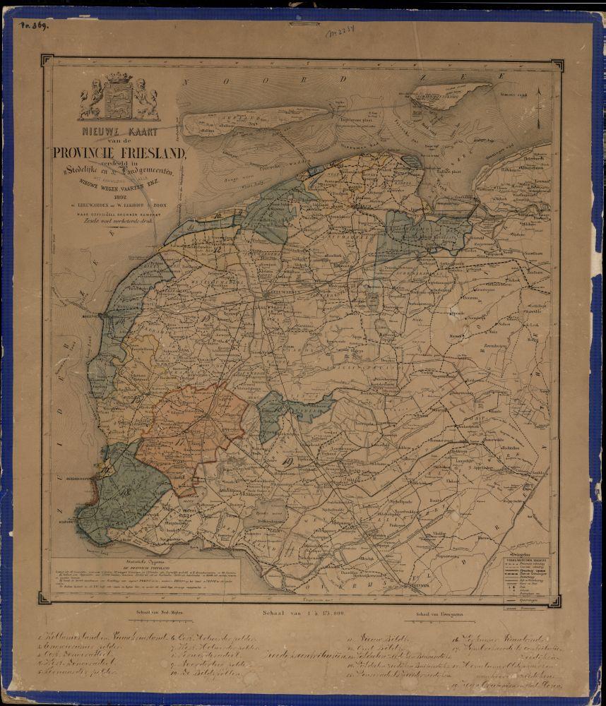 Landkaart met kleur van Friesland door Wopke Eekhoff