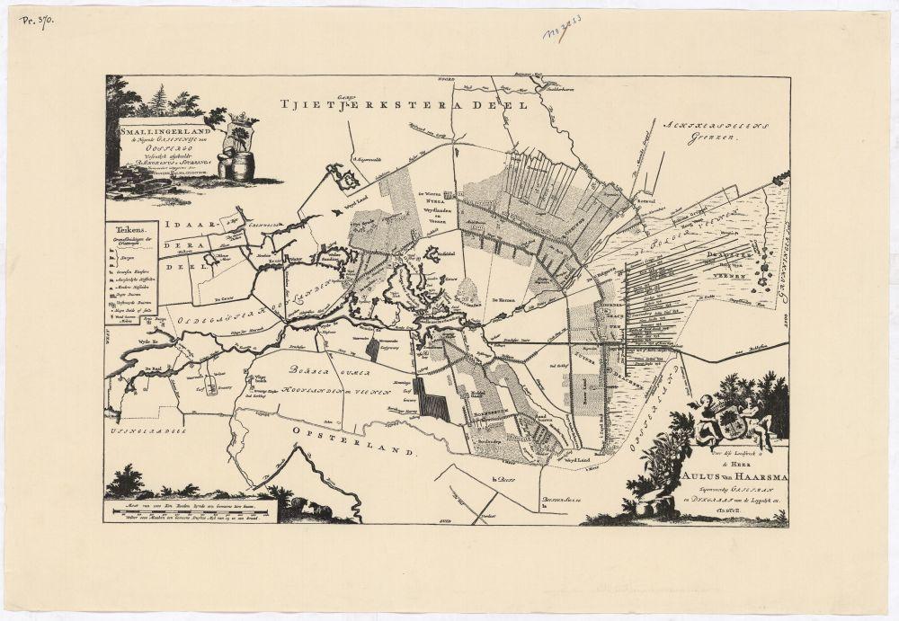 Landkaart van Smallingerland door B.Schotanus à Sterringa