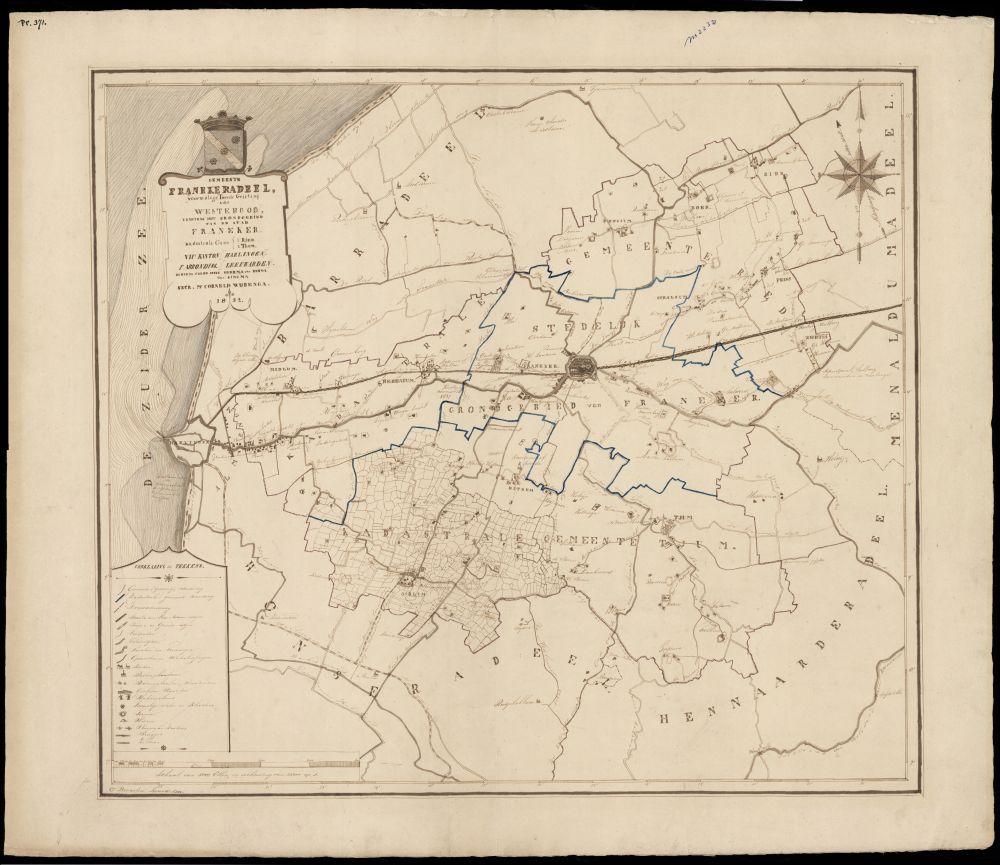 Landkaart met inkt van de gemeente Franekeradeel