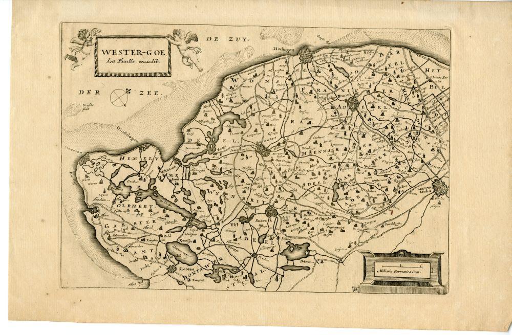 Kaart van het kwartier Westergo uit de atlas van Jacob Colom door La Feuille