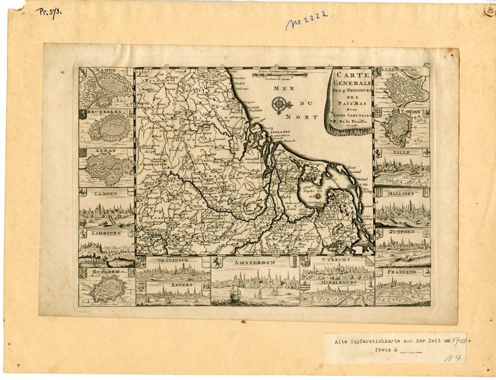 Landkaart van de zeventien provincies van Nederland door La Feuille