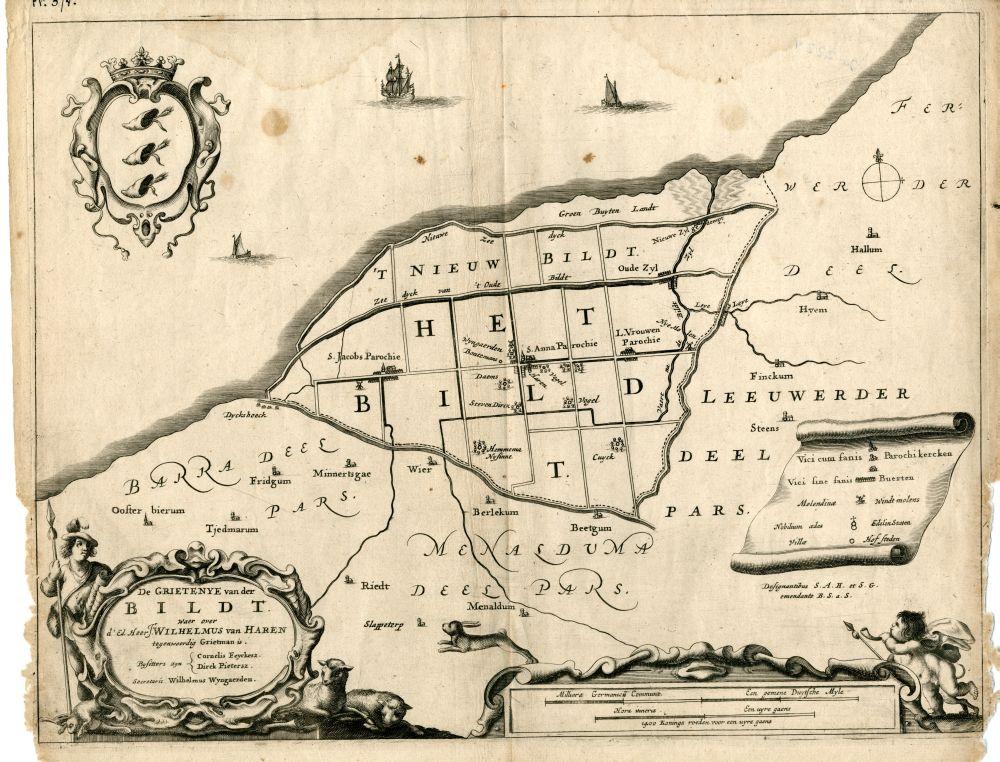 Kaart van de Grietenij Het Bildt.