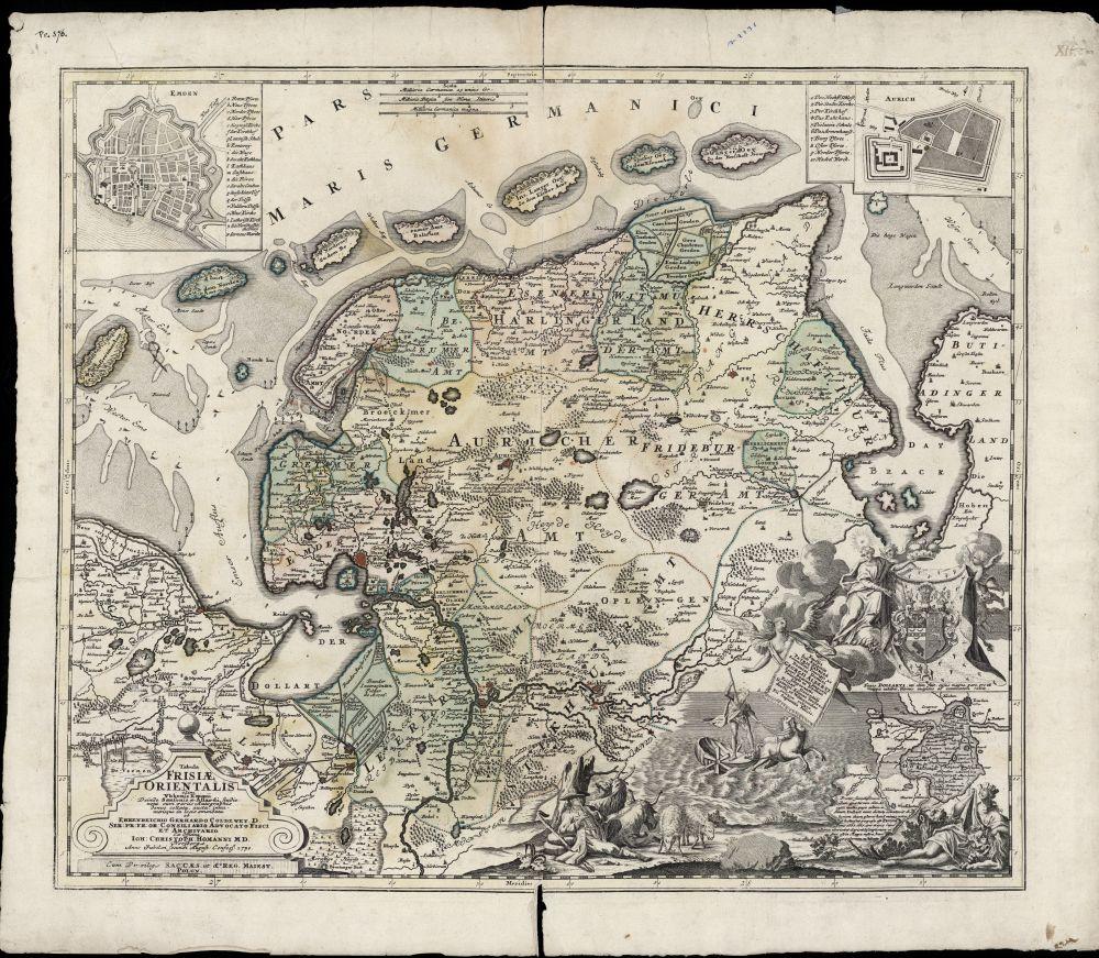 Landkaart met kleur van Oost-Friesland door Ubbo Emmius