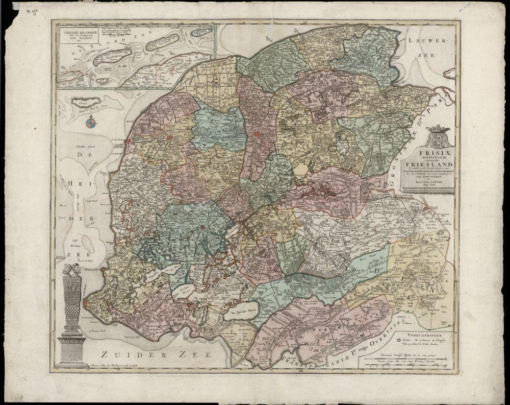 Landkaart met kleur van Friesland met linksonder de Stenen Man door Tobias Conrad Lotter