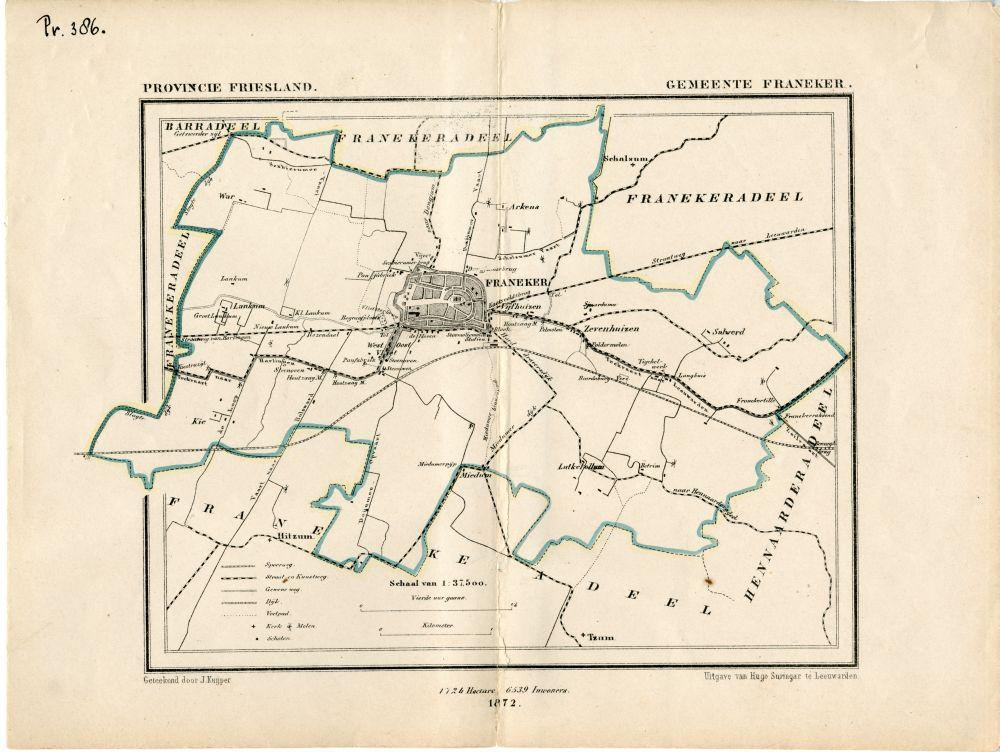 Landkaart van de gemeente Franeker door J. Kuyper