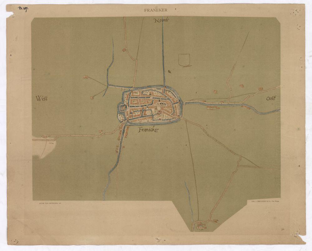 Plattegrond van Franeker door J. van Deventer