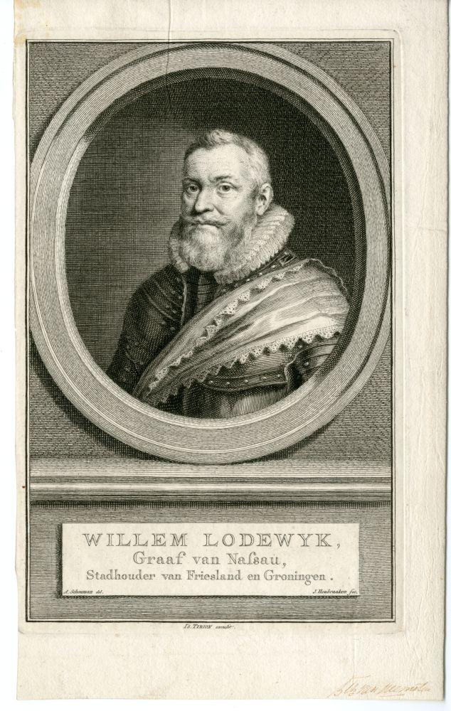 Portret van graaf Willem Lodewijk van Nassau door J. Houbraken