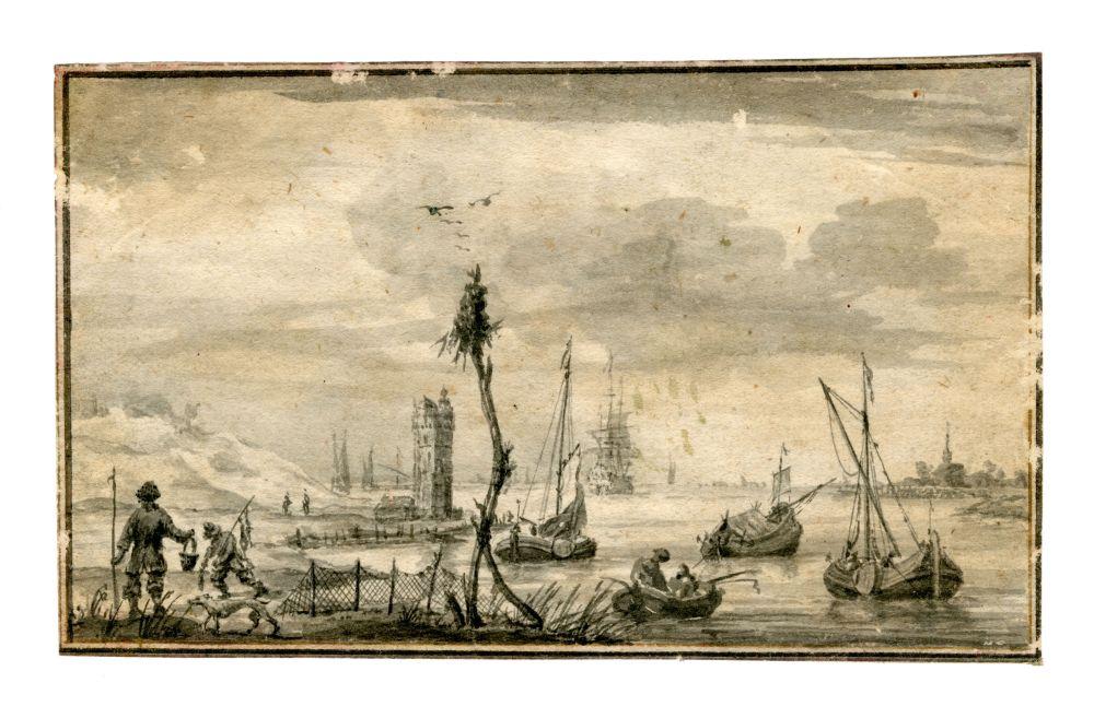 Tekening met verschillende schepen door Pieter Idserts Portier