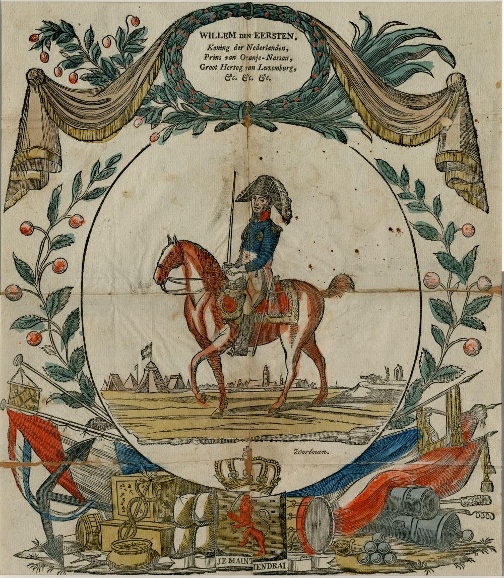Centsprent van koning Willem I door J. Oordman