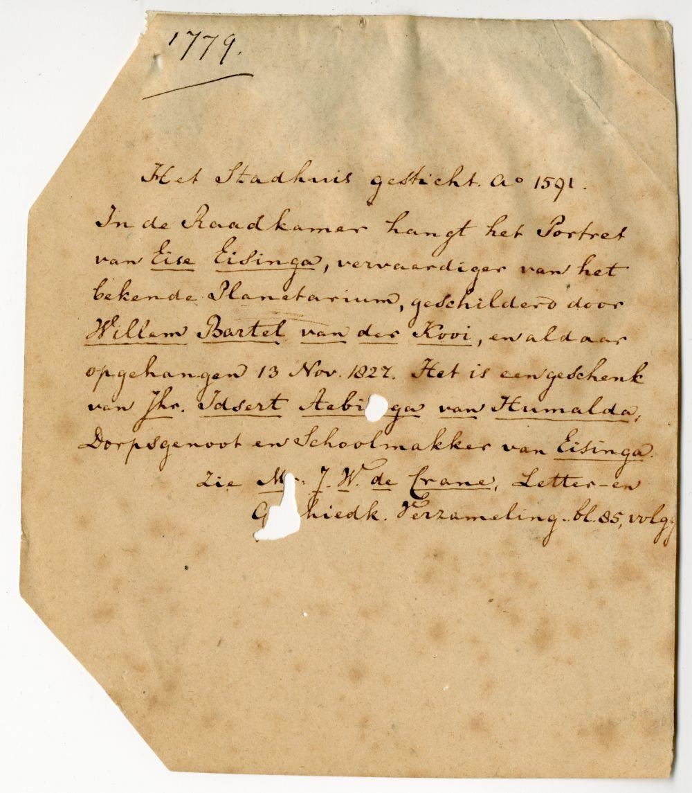 Brief met betrekking tot een schenking