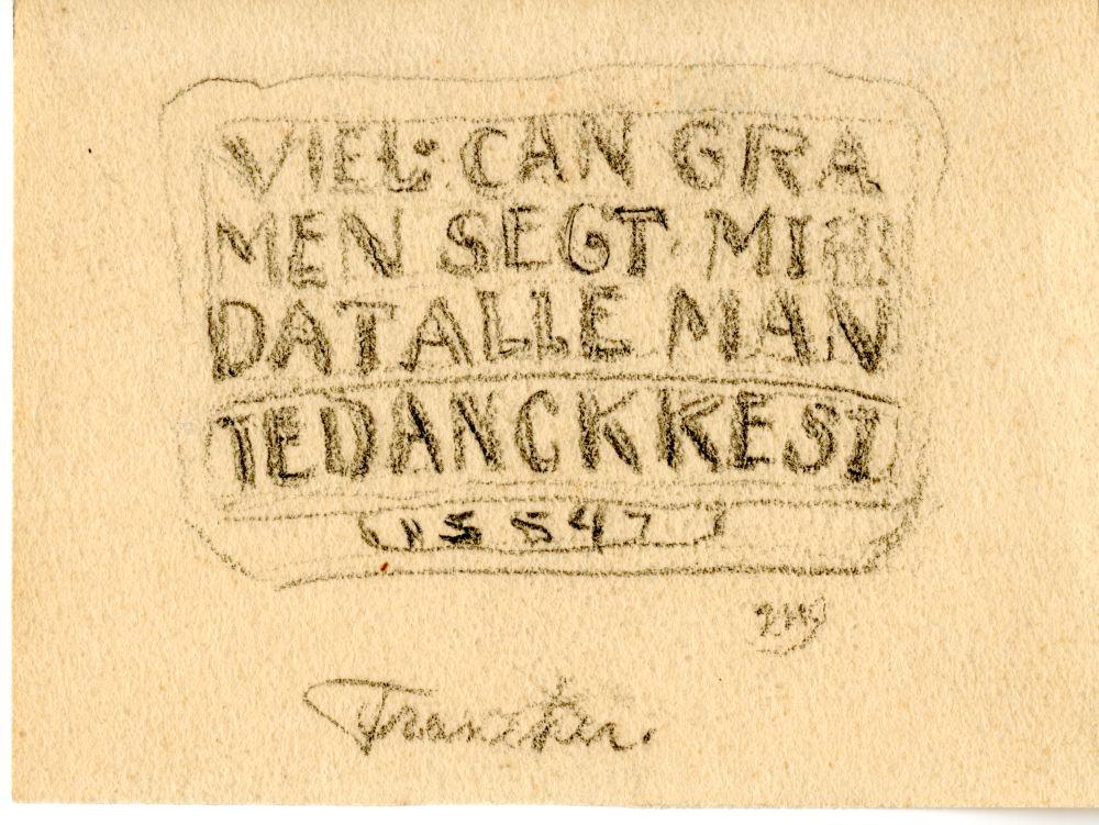 Tekening met potlood van een gevelsteen in Franeker door Ids Wiersma