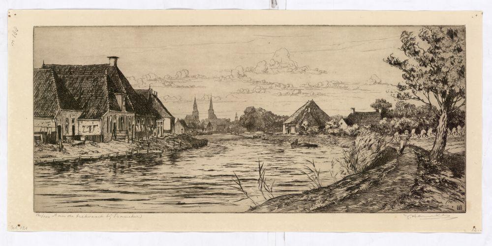 Ets van een trekvaart bij Franeker door Johan Hemkes