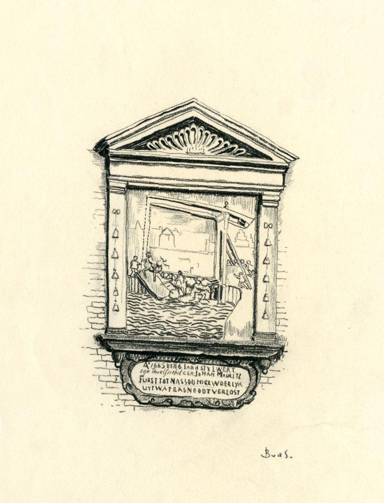 Tekening met potlood van een gevelsteen in Franeker met het ongeluk van Johan Maurits door Bouke van der Sloot
