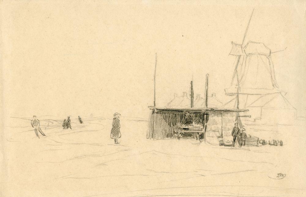 Tekening met potlood van een winters tafereel bij een molen door Ids Wiersma