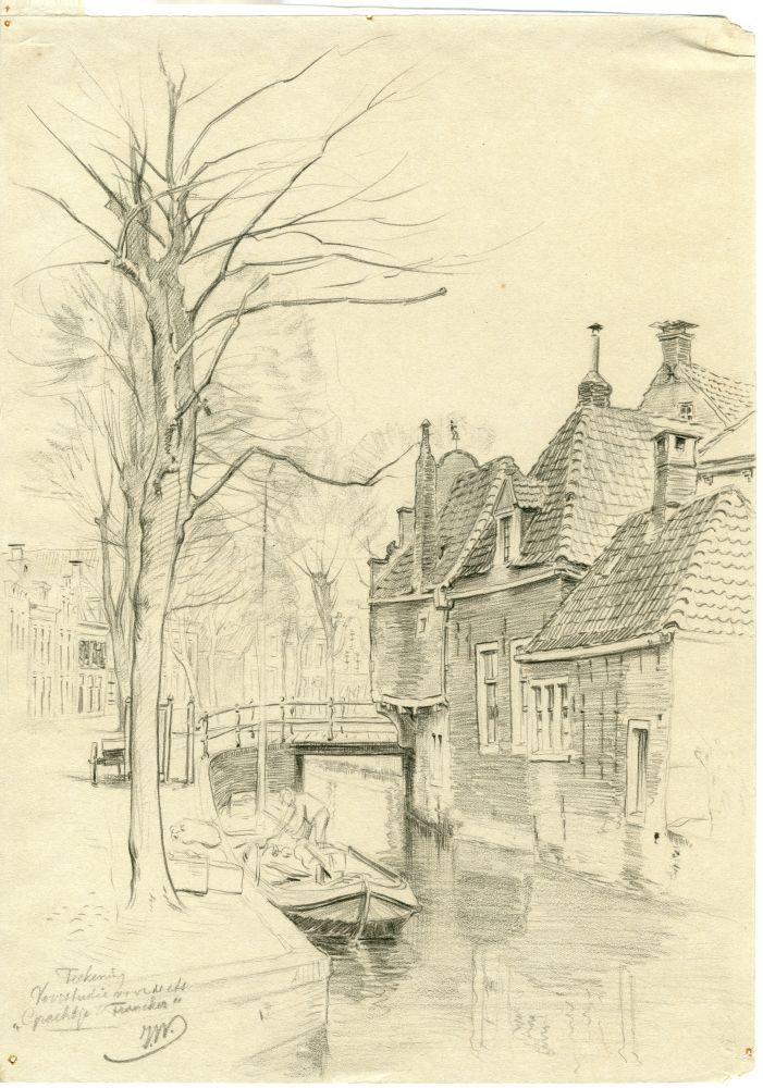 Tekening met potlood van een gracht in Franeker met het Korendragershuisje door Ids Wiersma