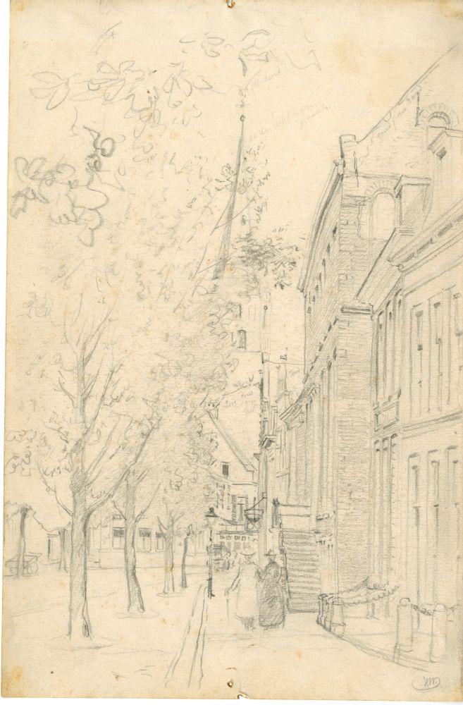 Tekening met potlood van de Voorstraat in Franeker door Ids Wiersma