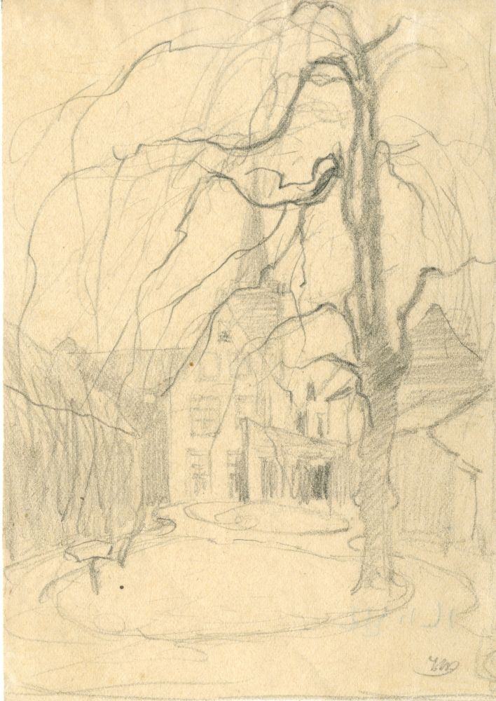 Tekening met potlood van een binnentuin door Ids Wiersma