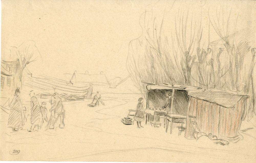 Tekening met potlood van een winters tafereel door Ids Wiersma