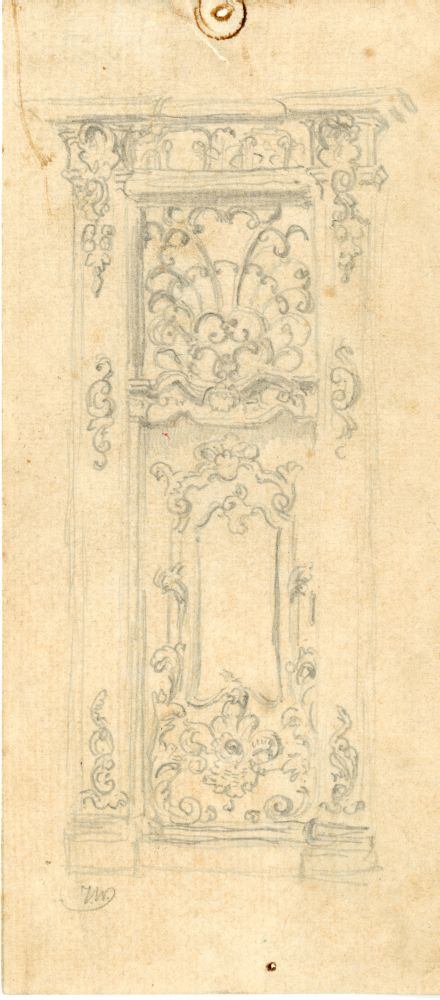 Tekening met potlood van de deur van het Coopmanshûs in Franeker door Ids Wiersma
