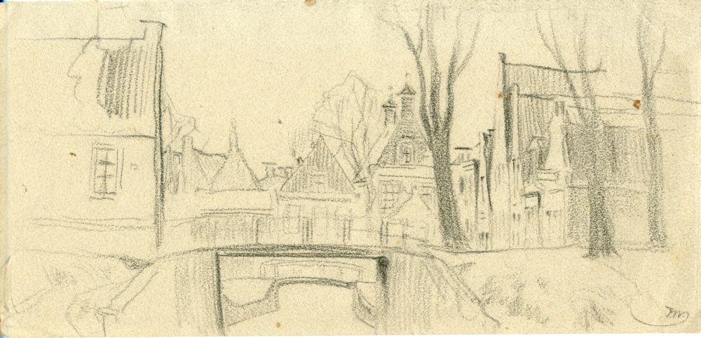 Tekening met potlood van stadsgezicht in Franeker door Ids Wiersma