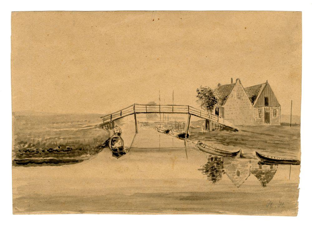 Een tekening van een landschap met een brug door H. van der Zee