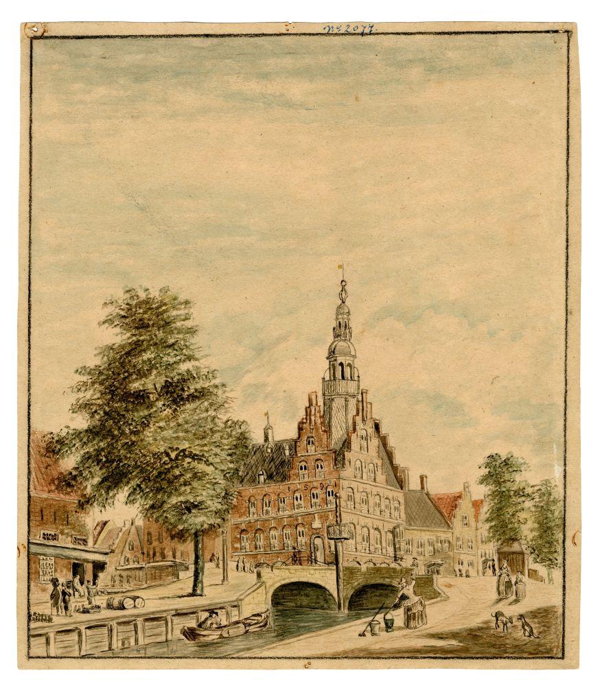 Tekening van het stadhuis van Franeker door H. van der Zee