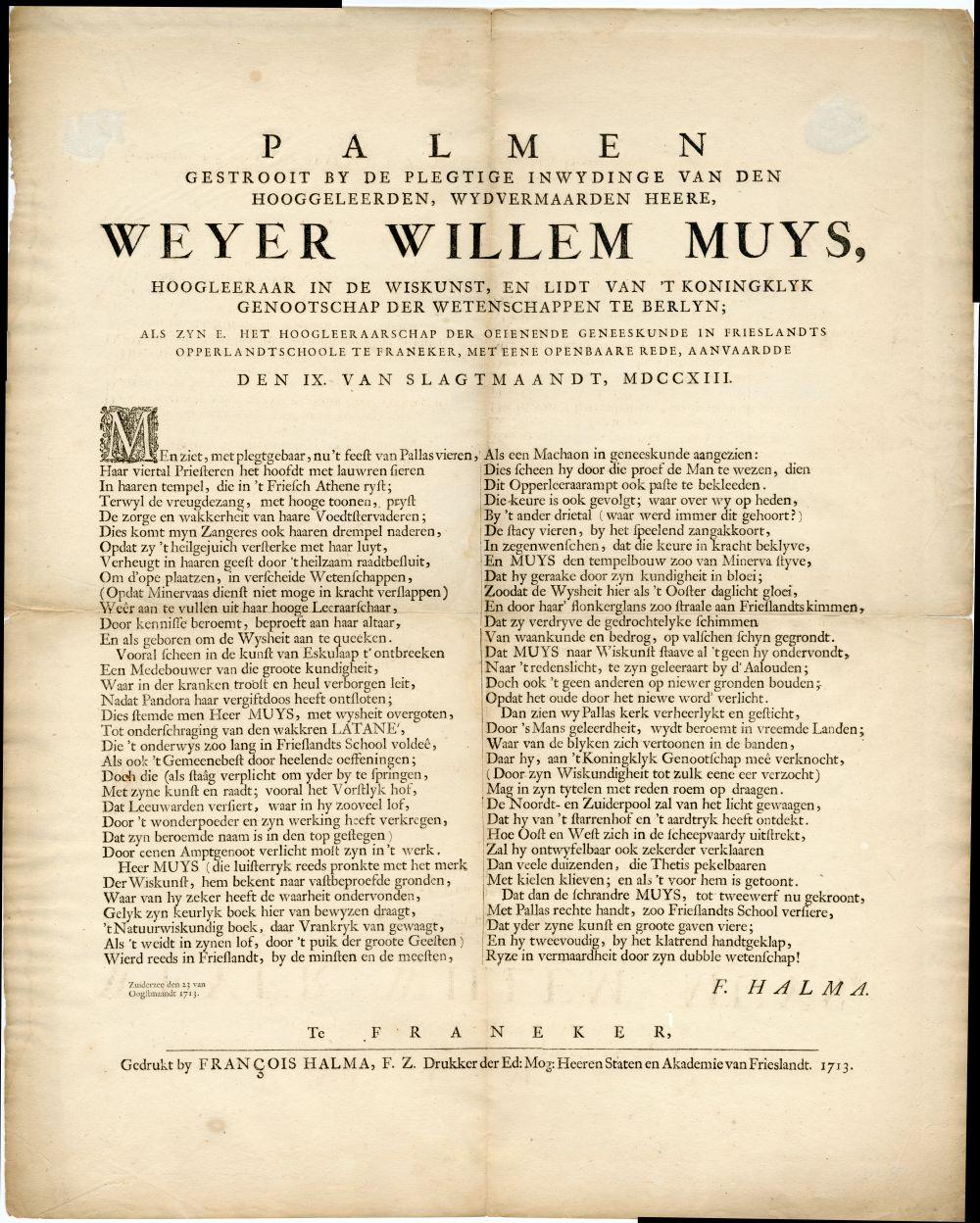 Rijmprent ter gelegenheid van de plechtige inwijding van de heer W.W. Muys tot Hoogleraar in de Geneeskunde aan de Franeker Hogeschool.