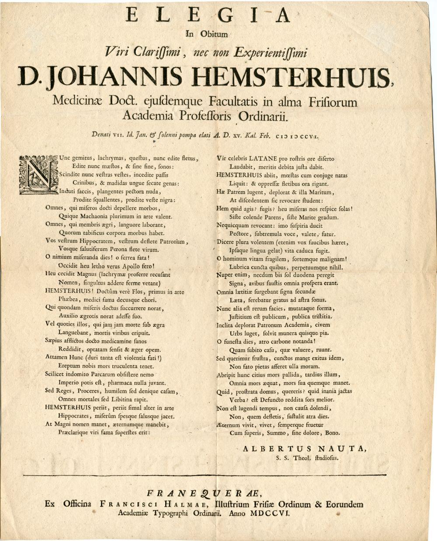 Herdenkingsgeschrift in latijn met betrekking tot het overlijden van D. Johannis Hemsterhuis door Albertus Nauta